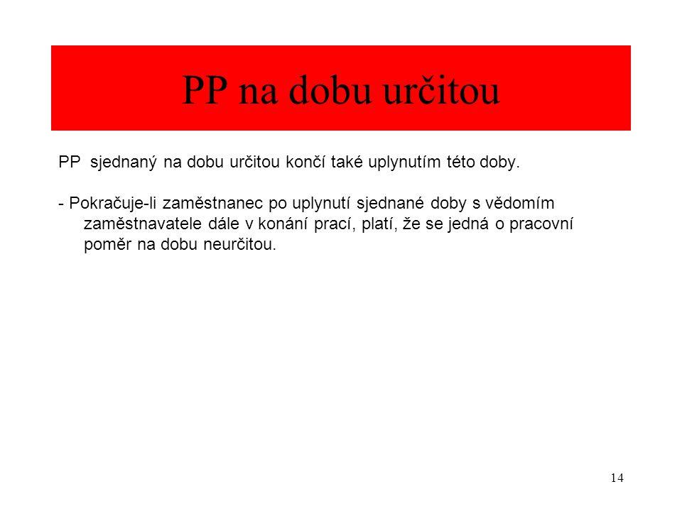 PP na dobu určitou PP sjednaný na dobu určitou končí také uplynutím této doby.