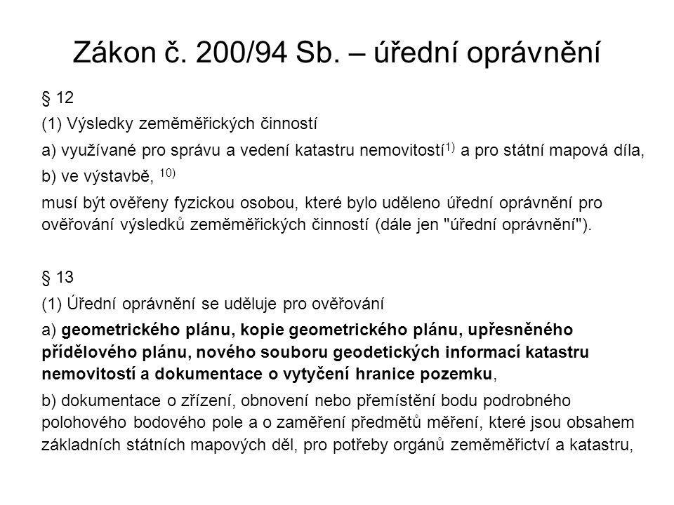 Zákon č. 200/94 Sb. – úřední oprávnění