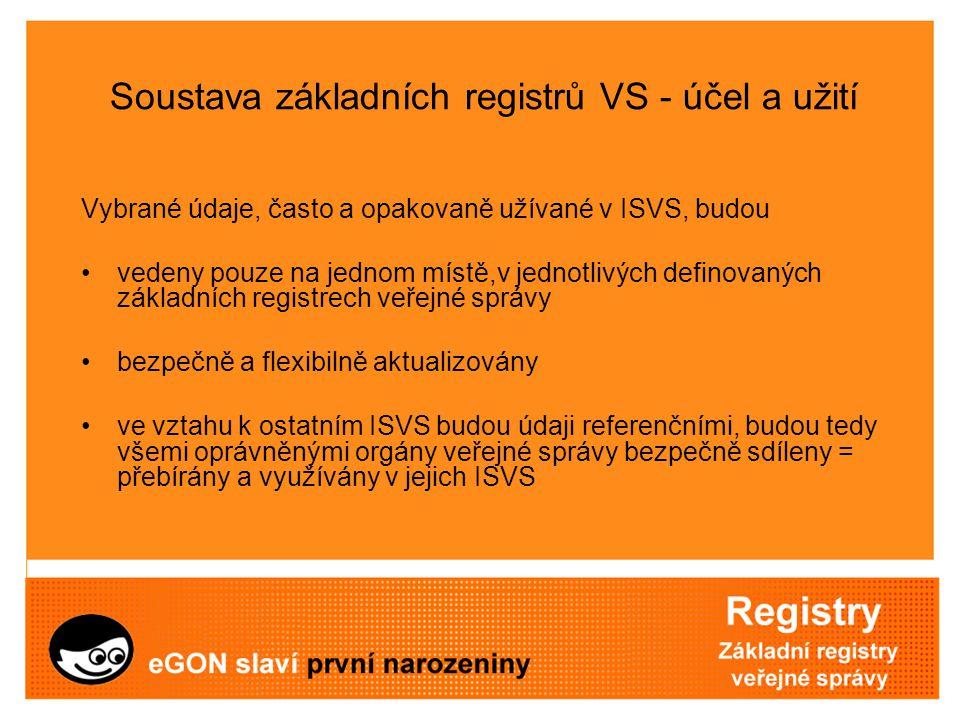 Soustava základních registrů VS - účel a užití