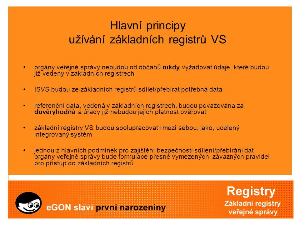 Hlavní principy užívání základních registrů VS