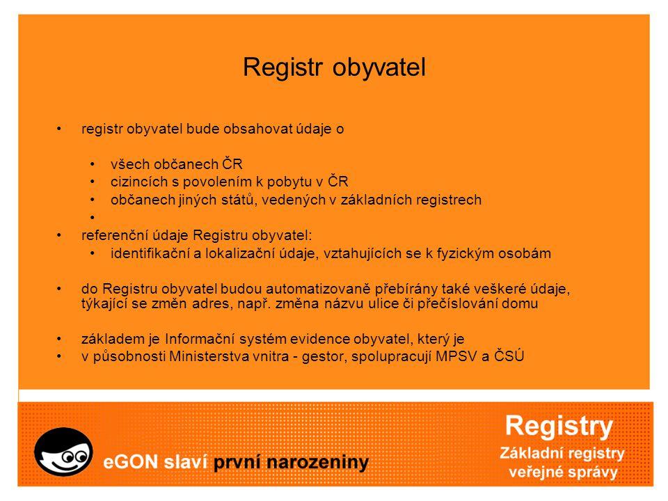 Registr obyvatel registr obyvatel bude obsahovat údaje o