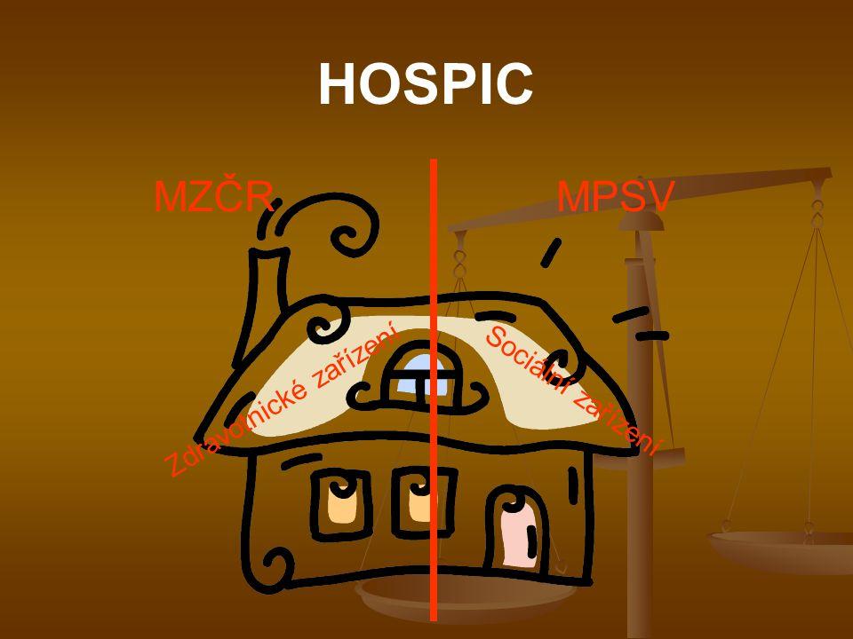 HOSPIC MZČR MPSV Zdravotnické zařízení Sociální zařízení