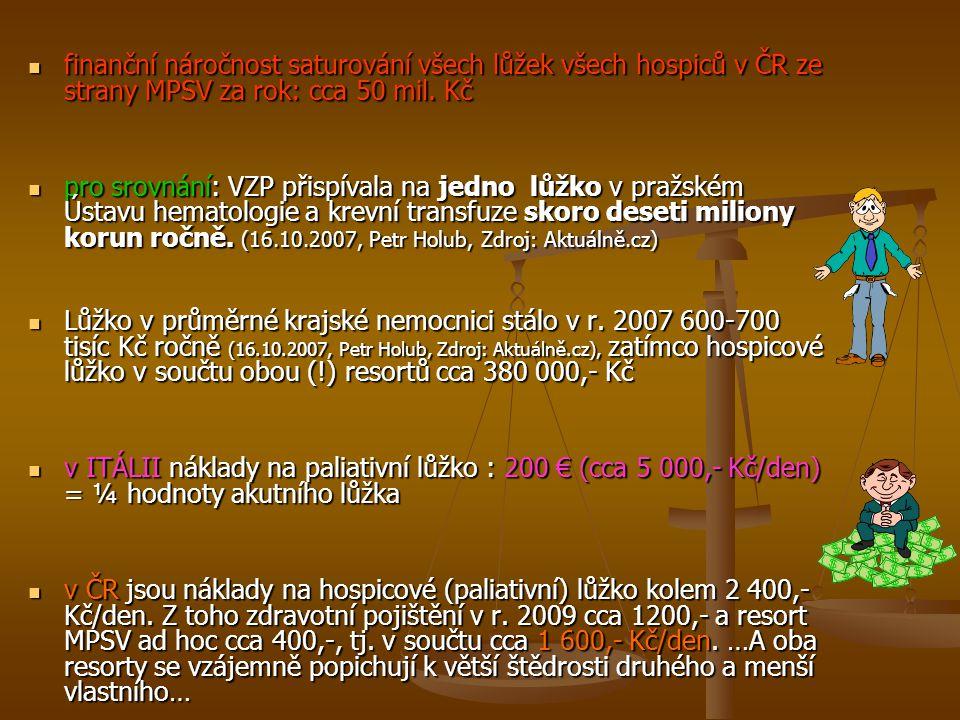 finanční náročnost saturování všech lůžek všech hospiců v ČR ze strany MPSV za rok: cca 50 mil. Kč