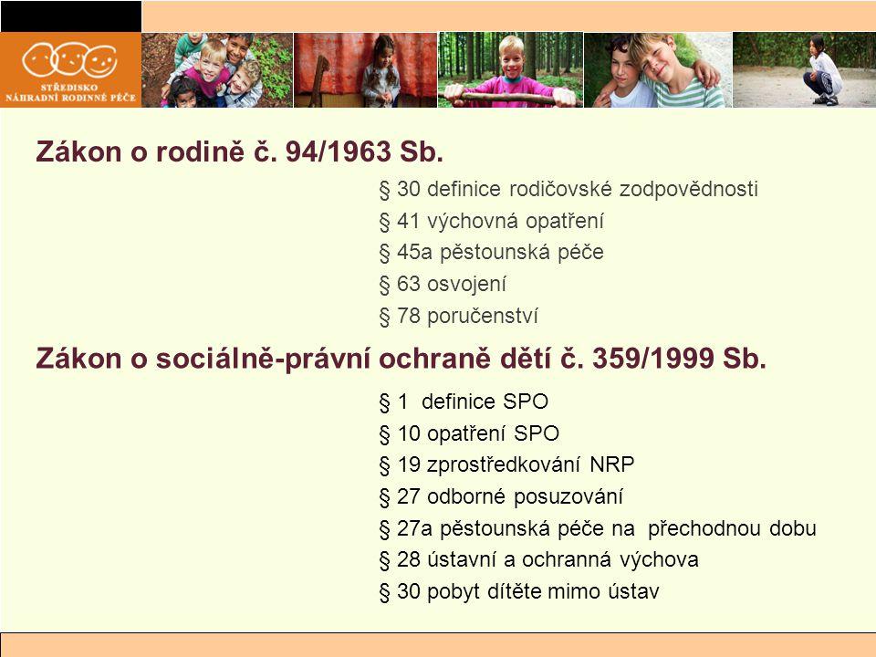 Zákon o sociálně-právní ochraně dětí č. 359/1999 Sb.