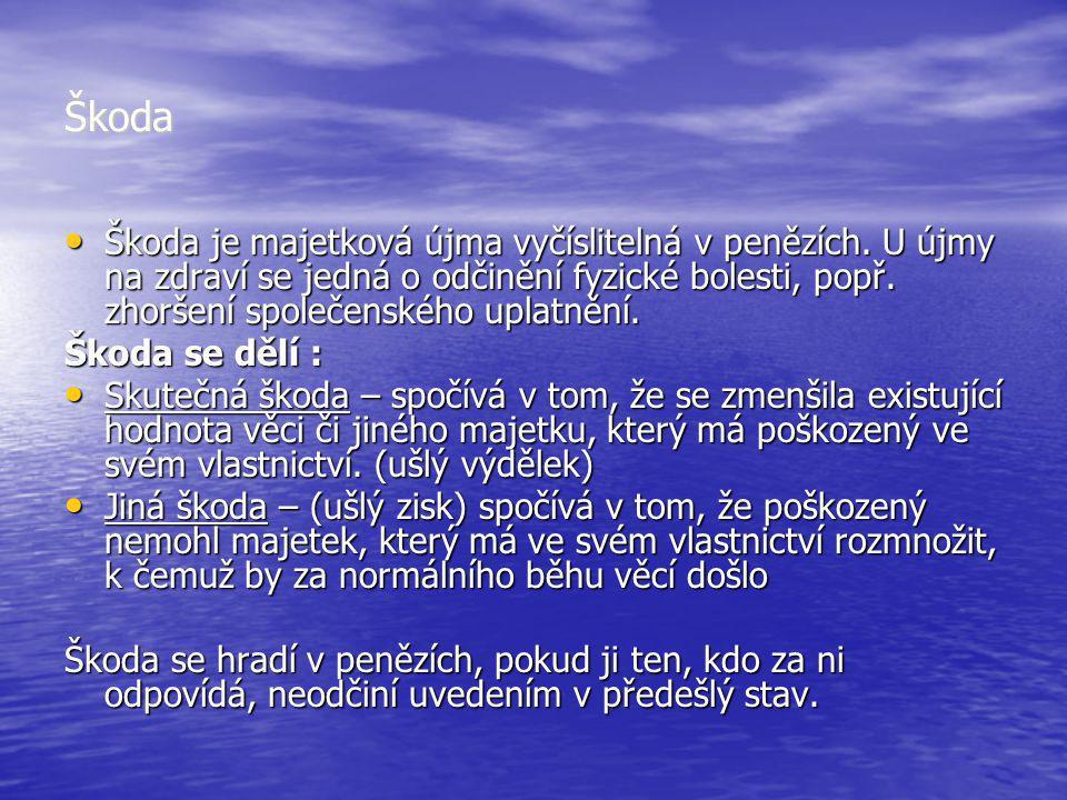 Škoda Škoda je majetková újma vyčíslitelná v penězích. U újmy na zdraví se jedná o odčinění fyzické bolesti, popř. zhoršení společenského uplatnění.