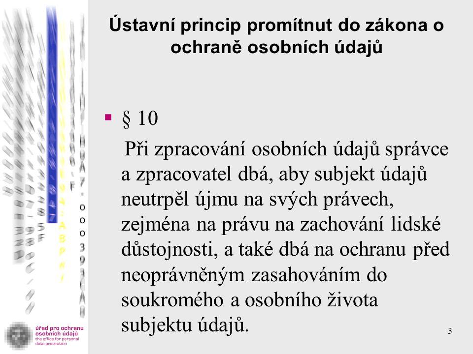 Ústavní princip promítnut do zákona o ochraně osobních údajů