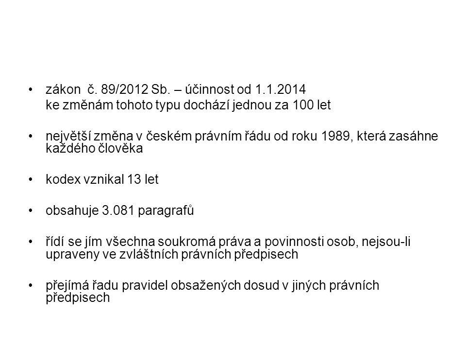 zákon č. 89/2012 Sb. – účinnost od 1.1.2014