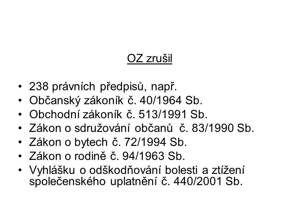 OZ zrušil 238 právních předpisů, např. Občanský zákoník č. 40/1964 Sb. Obchodní zákoník č. 513/1991 Sb.