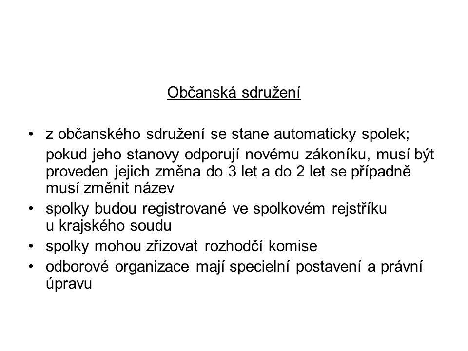 Občanská sdružení z občanského sdružení se stane automaticky spolek;