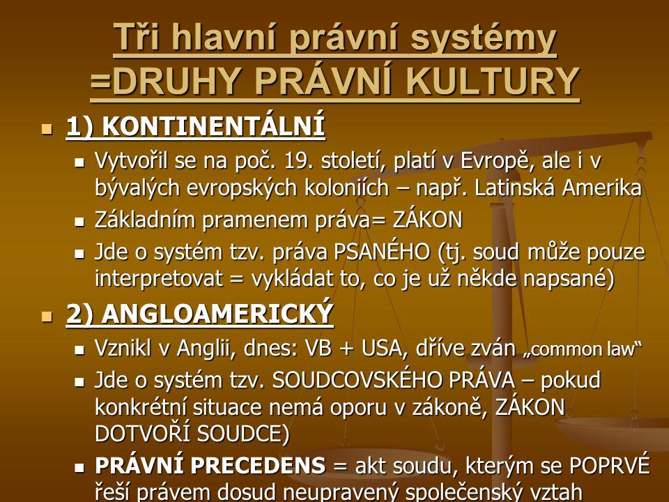 Tři hlavní právní systémy =DRUHY PRÁVNÍ KULTURY