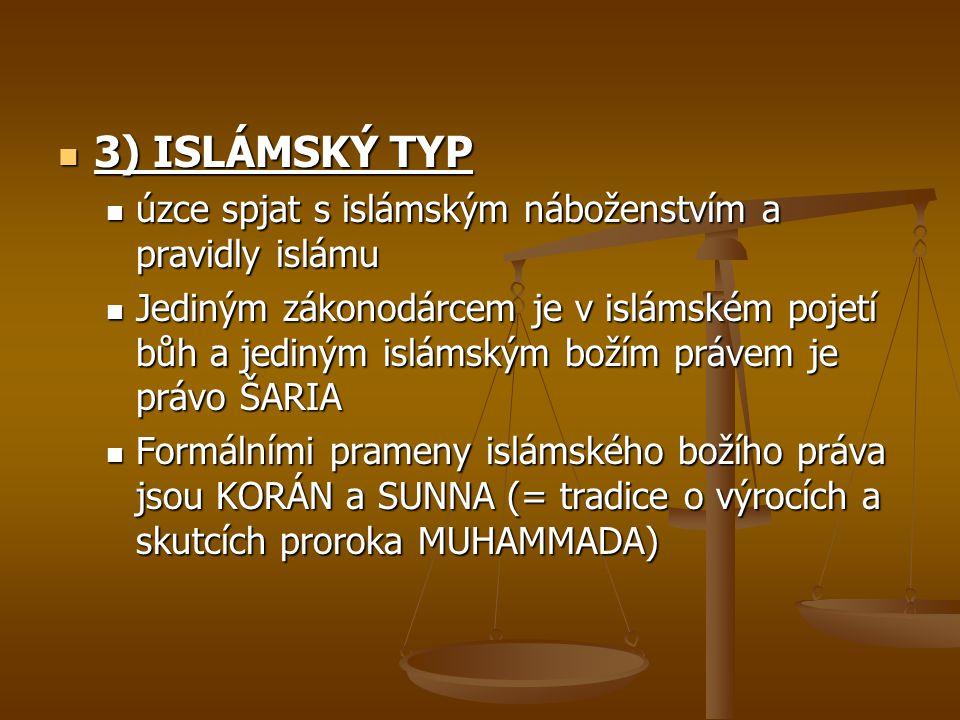 3) ISLÁMSKÝ TYP úzce spjat s islámským náboženstvím a pravidly islámu