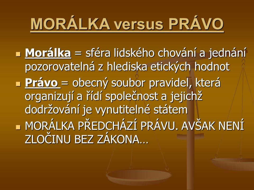 MORÁLKA versus PRÁVO Morálka = sféra lidského chování a jednání pozorovatelná z hlediska etických hodnot.