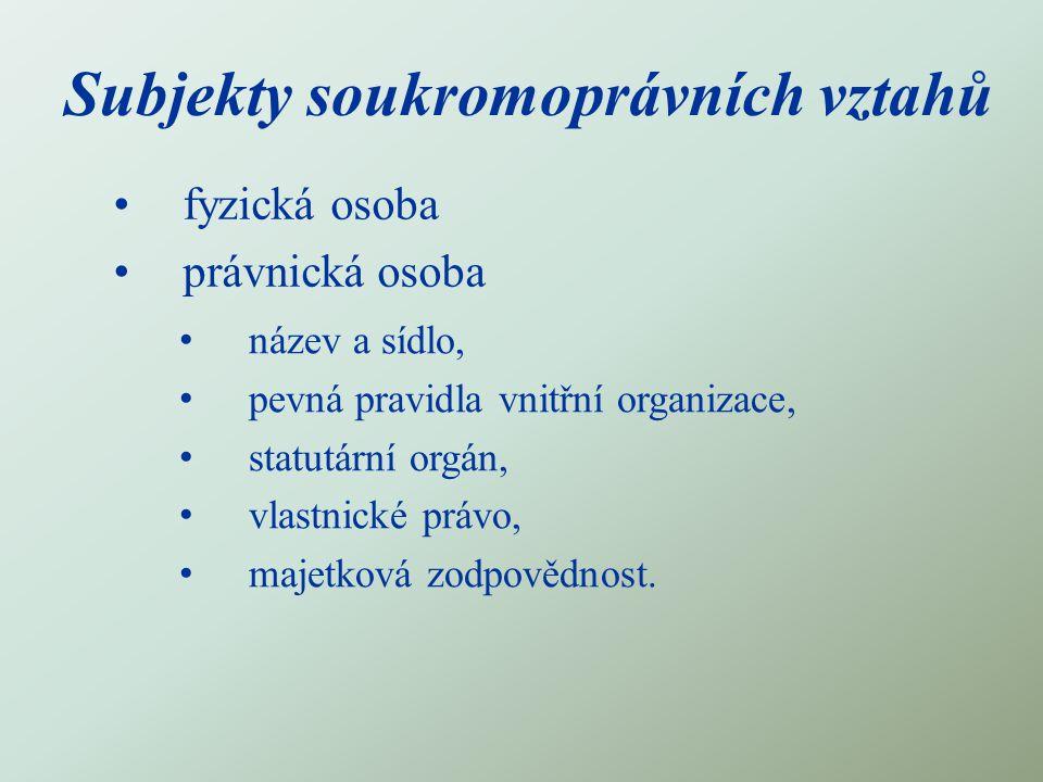 Subjekty soukromoprávních vztahů