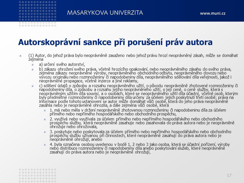 Autorskoprávní sankce při porušení práv autora