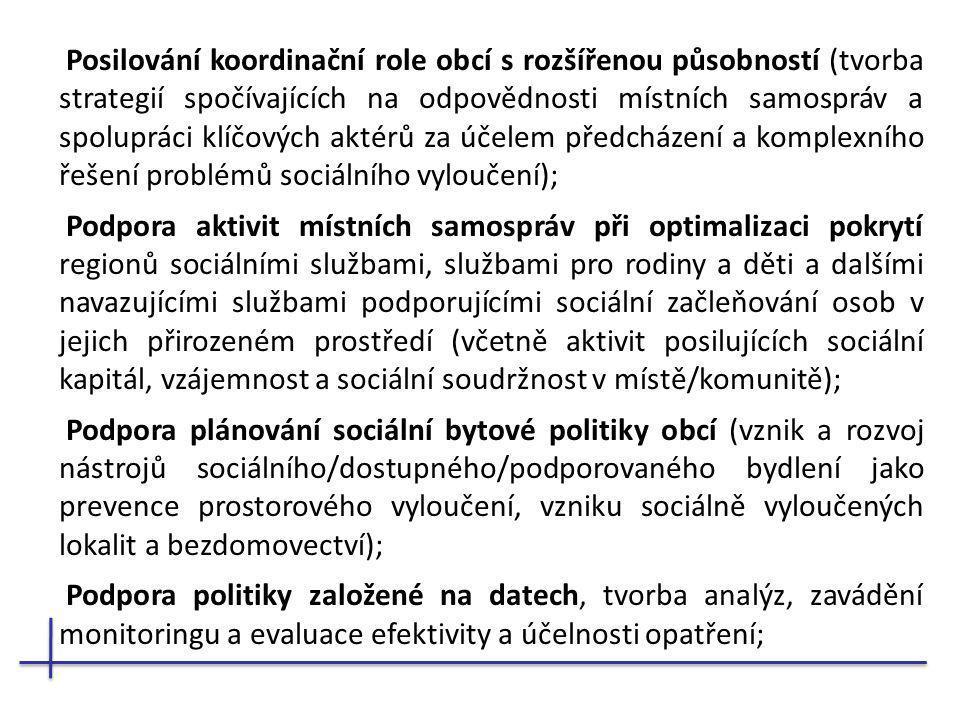 Posilování koordinační role obcí s rozšířenou působností (tvorba strategií spočívajících na odpovědnosti místních samospráv a spolupráci klíčových aktérů za účelem předcházení a komplexního řešení problémů sociálního vyloučení);