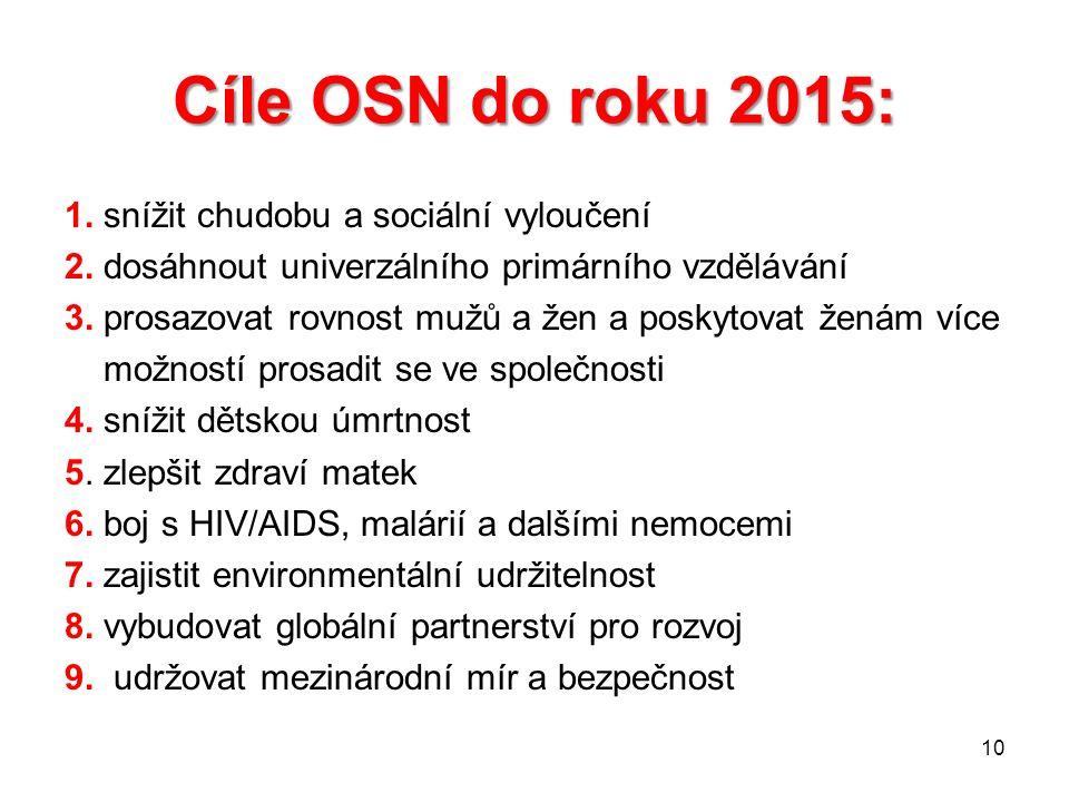 Cíle OSN do roku 2015: