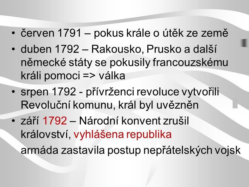 červen 1791 – pokus krále o útěk ze země