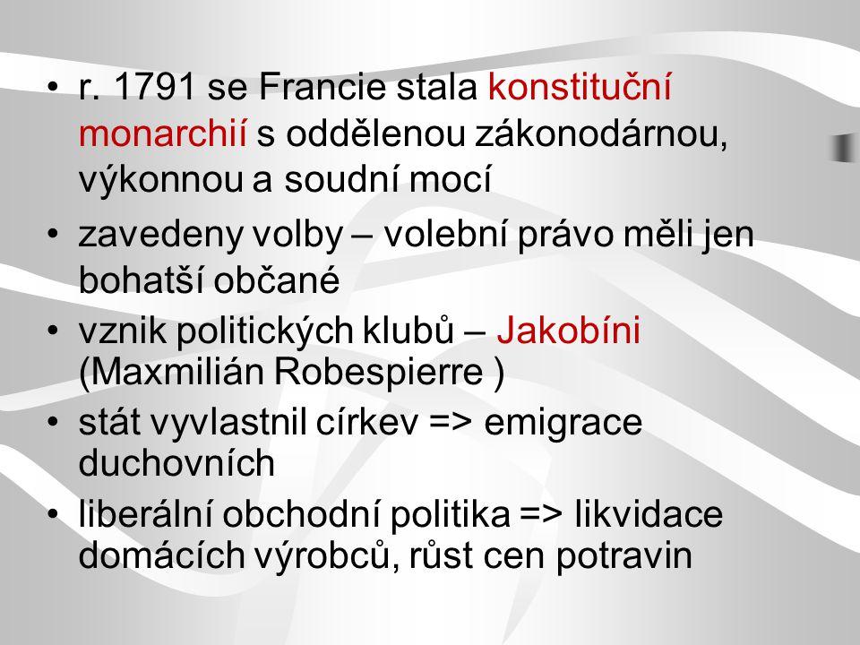 r. 1791 se Francie stala konstituční monarchií s oddělenou zákonodárnou, výkonnou a soudní mocí