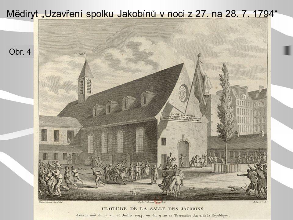 """Mědiryt """"Uzavření spolku Jakobínů v noci z 27. na 28. 7. 1794"""