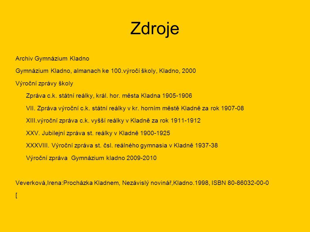 Zdroje Archiv Gymnázium Kladno