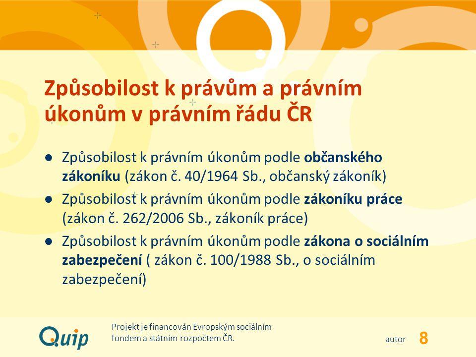 Způsobilost k právům a právním úkonům v právním řádu ČR