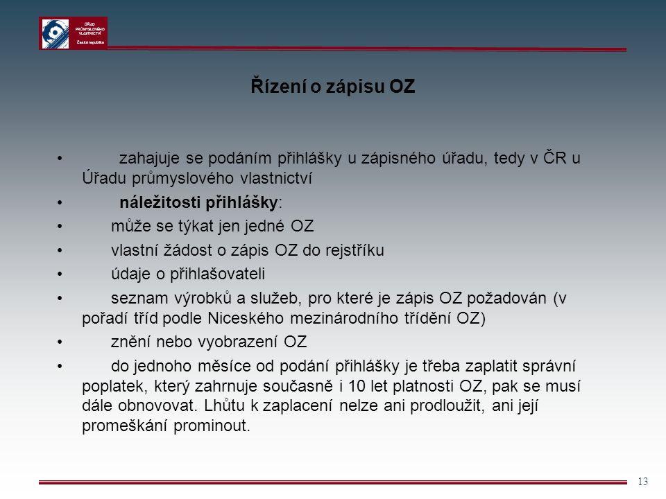 Řízení o zápisu OZ zahajuje se podáním přihlášky u zápisného úřadu, tedy v ČR u Úřadu průmyslového vlastnictví.