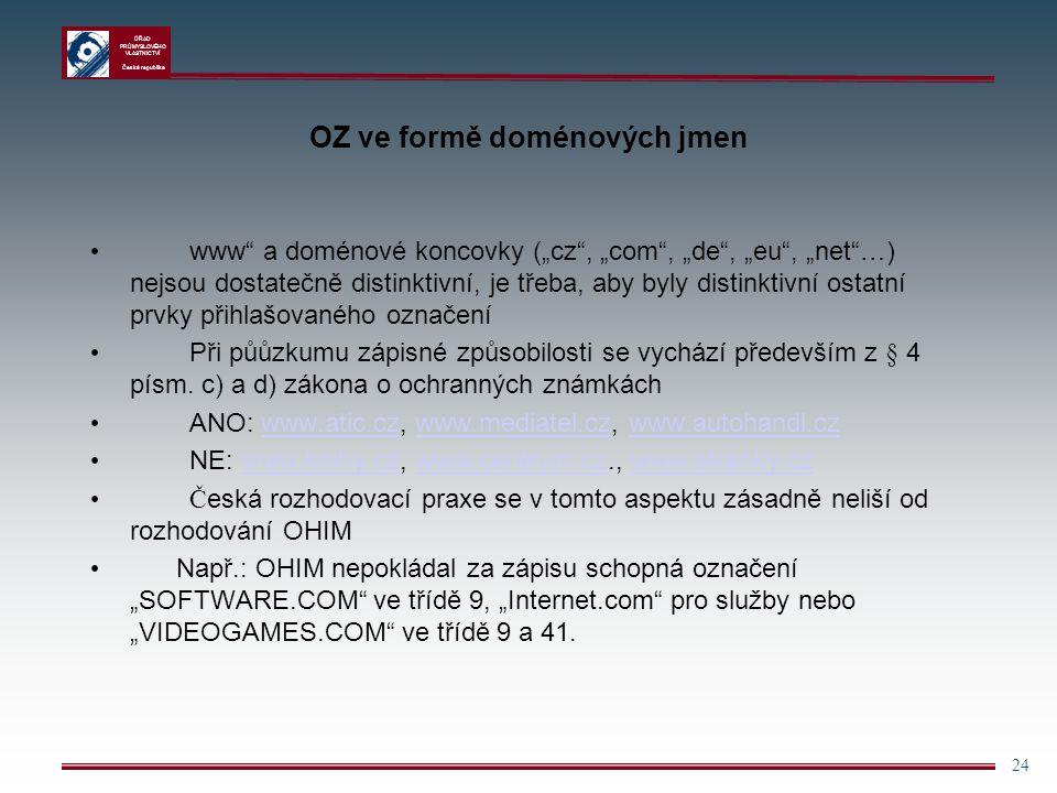OZ ve formě doménových jmen