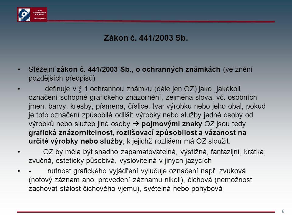 Zákon č. 441/2003 Sb. Stěžejní zákon č. 441/2003 Sb., o ochranných známkách (ve znění pozdějších předpisů)