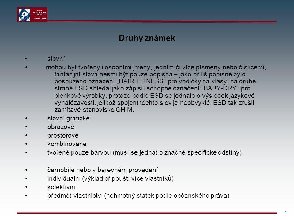 Druhy známek slovní.