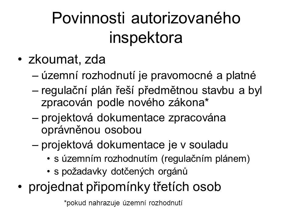 Povinnosti autorizovaného inspektora