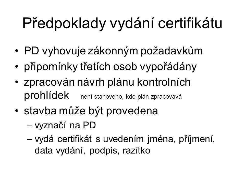 Předpoklady vydání certifikátu
