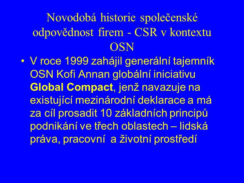 Novodobá historie společenské odpovědnost firem - CSR v kontextu OSN