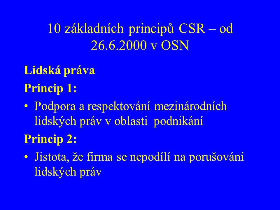 10 základních principů CSR – od 26.6.2000 v OSN