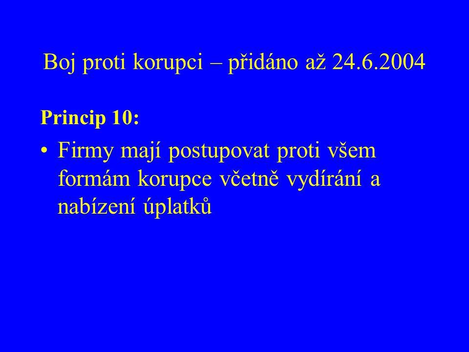 Boj proti korupci – přidáno až 24.6.2004
