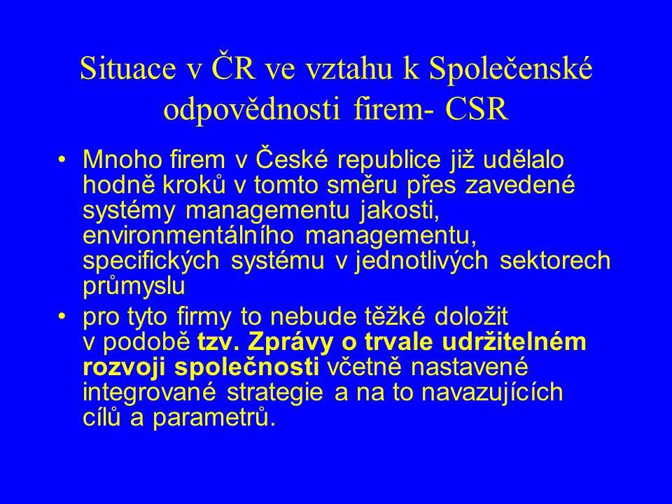 Situace v ČR ve vztahu k Společenské odpovědnosti firem- CSR