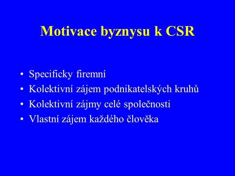 Motivace byznysu k CSR Specificky firemní