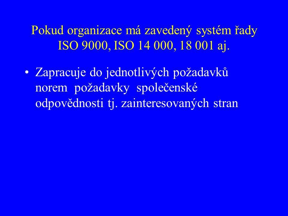 Pokud organizace má zavedený systém řady ISO 9000, ISO 14 000, 18 001 aj.