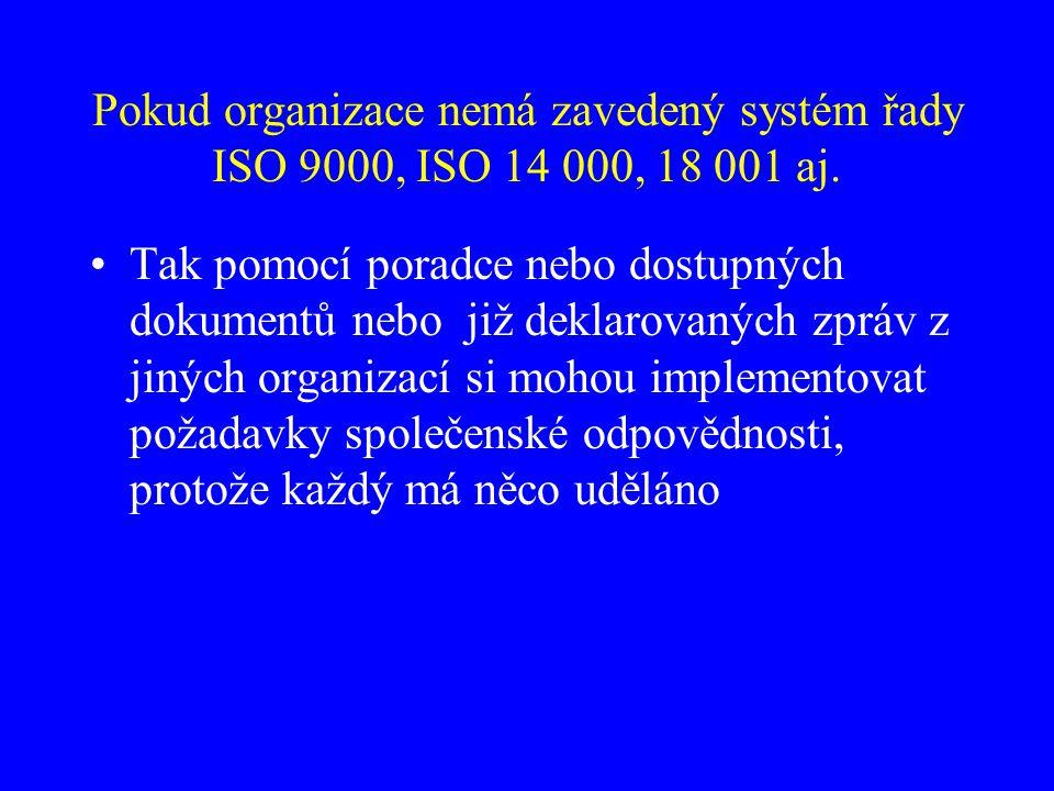 Pokud organizace nemá zavedený systém řady ISO 9000, ISO 14 000, 18 001 aj.