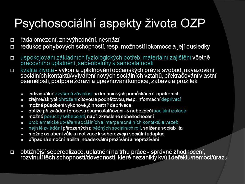Psychosociální aspekty života OZP