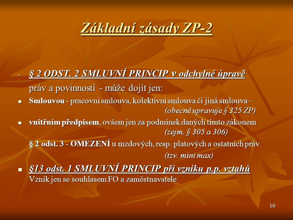 Základní zásady ZP-2 § 2 ODST. 2 SMLUVNÍ PRINCIP v odchylné úpravě