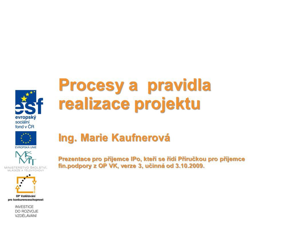 Procesy a pravidla realizace projektu Ing