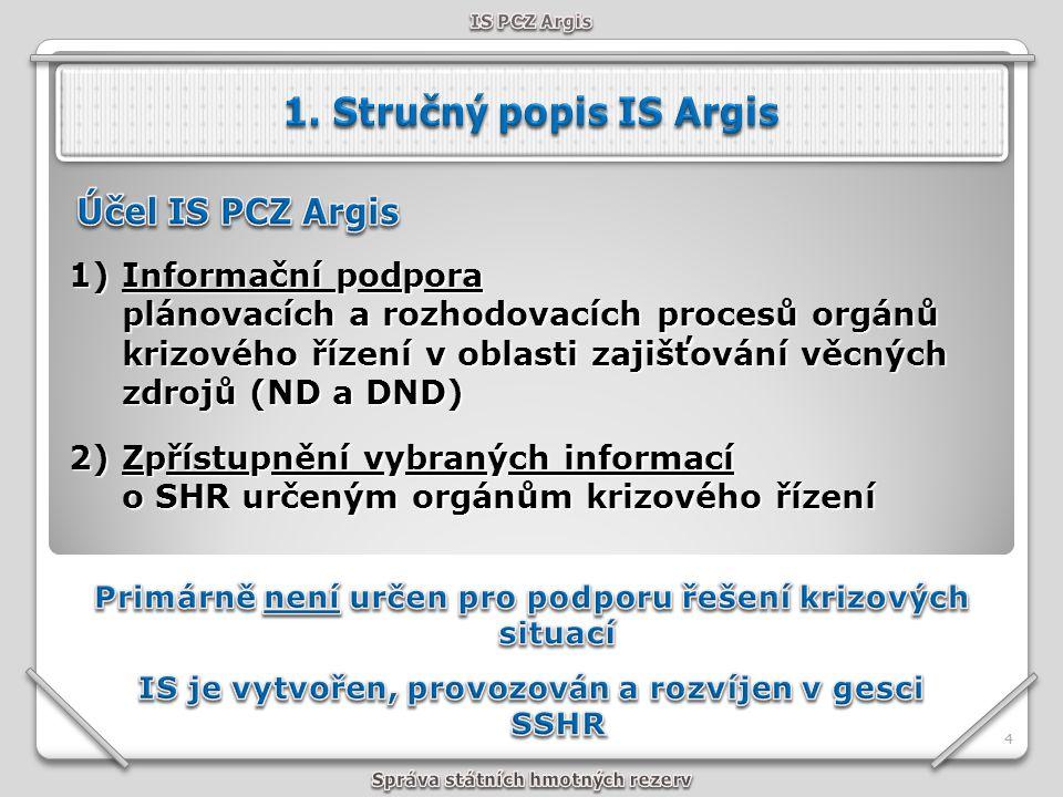 1. Stručný popis IS Argis Účel IS PCZ Argis
