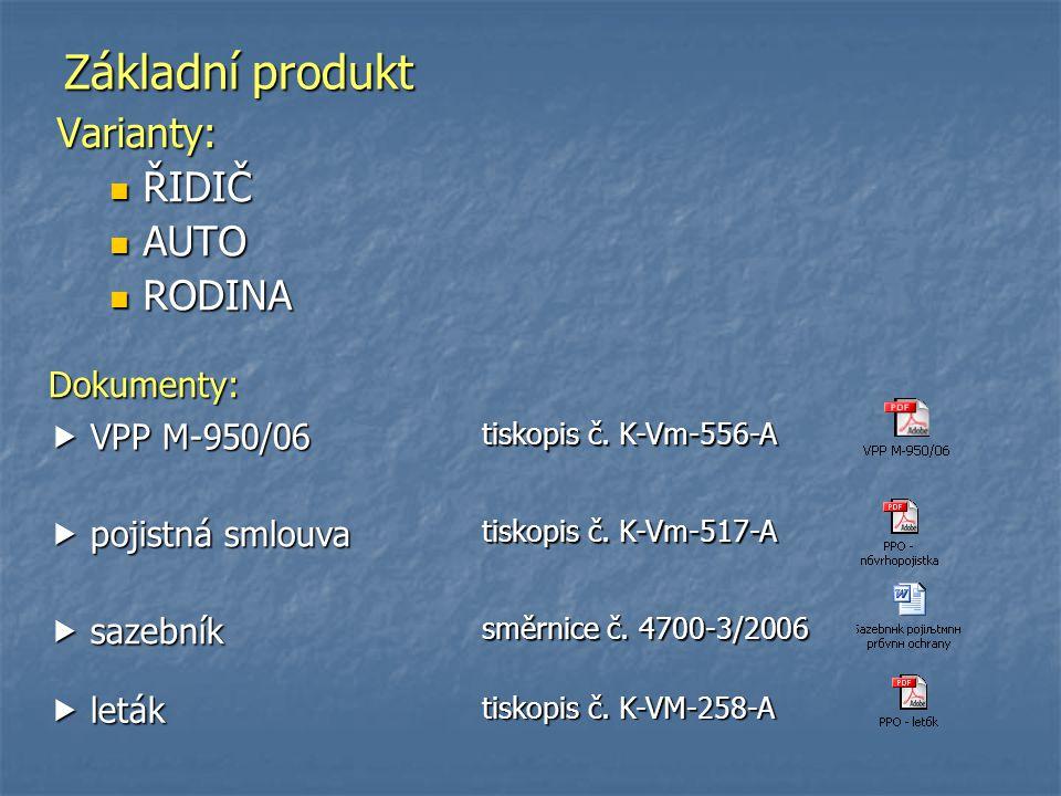 Základní produkt Varianty: ŘIDIČ AUTO RODINA Dokumenty:  VPP M-950/06
