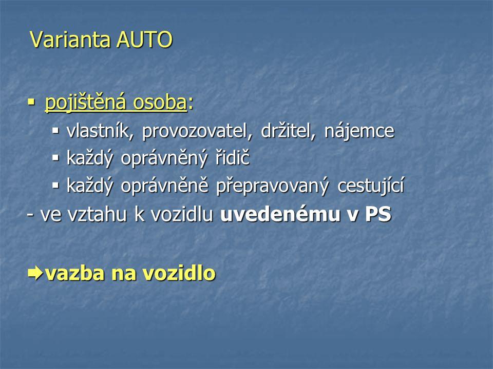 Varianta AUTO pojištěná osoba: - ve vztahu k vozidlu uvedenému v PS