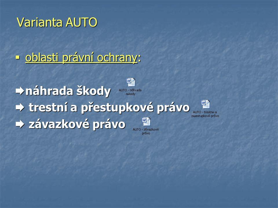 Varianta AUTO oblasti právní ochrany: náhrada škody