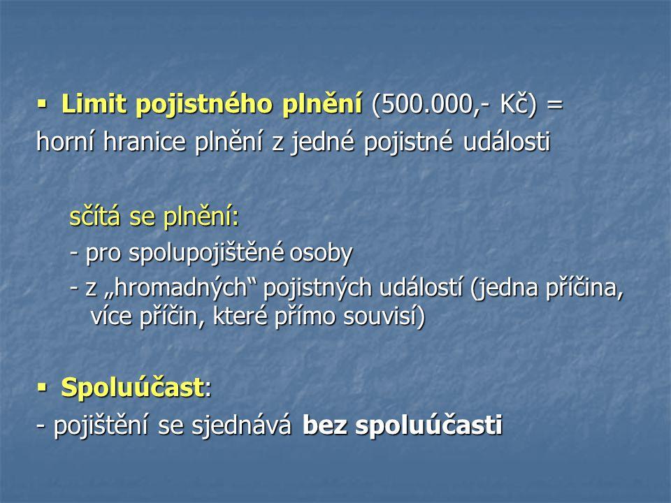 Limit pojistného plnění (500.000,- Kč) =