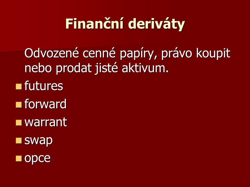 Finanční deriváty Odvozené cenné papíry, právo koupit nebo prodat jisté aktivum. futures. forward.
