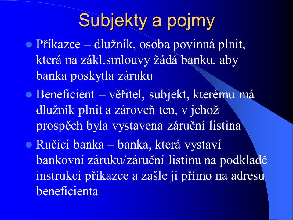 Subjekty a pojmy Příkazce – dlužník, osoba povinná plnit, která na zákl.smlouvy žádá banku, aby banka poskytla záruku.