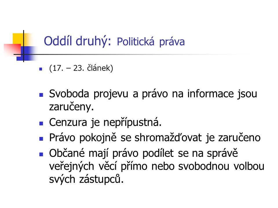 Oddíl druhý: Politická práva