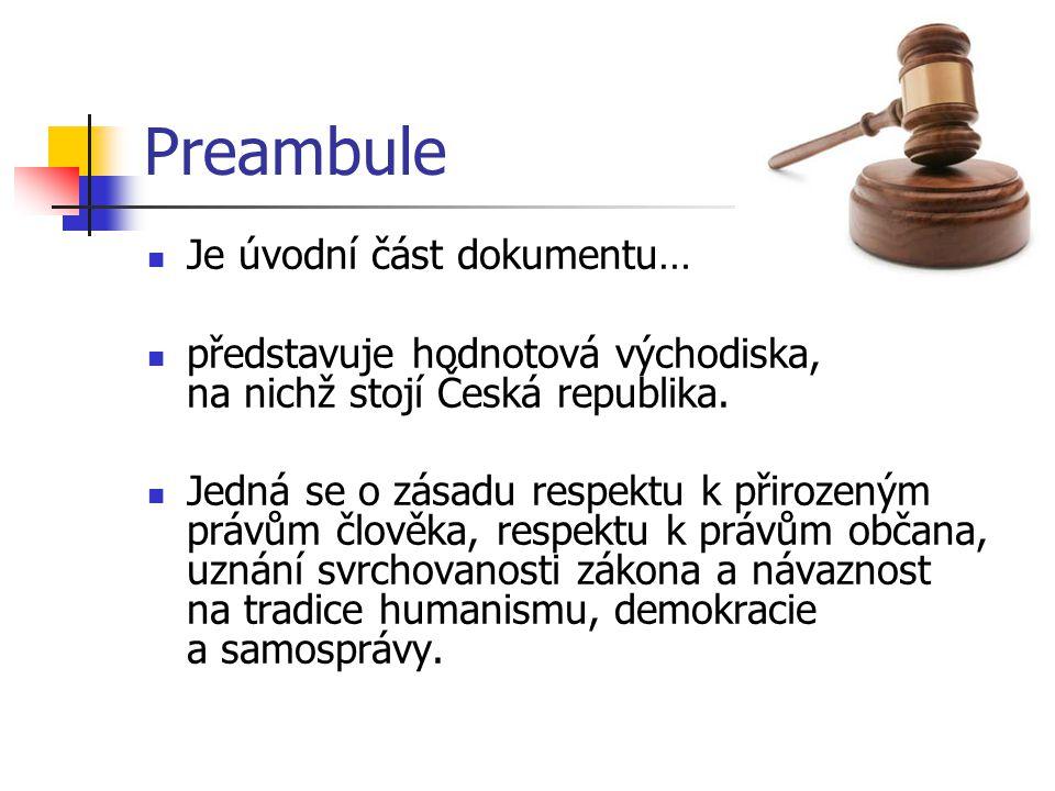 Preambule Je úvodní část dokumentu…